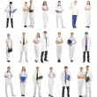 Stock Photo: Many different medical workers isolated on white