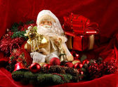Christmas background with Santa doll — Stock Photo