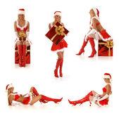 Set of sexy Santas — Stock Photo