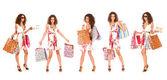 Çekici bir kadın alışveriş yaparken — Stok fotoğraf