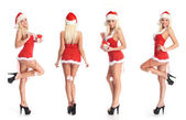 Young attractive sexy Santa isolated on white background — Stock Photo