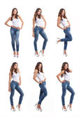 Young, fit and sexy woman in jeans and white top — Stock Photo
