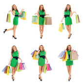 Some photos of young attractive woman with shopping bags — Стоковое фото