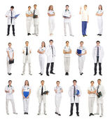 Many different medical workers isolated on white — Stockfoto
