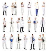 白で隔離される多くの異なる医療労働者 — ストック写真