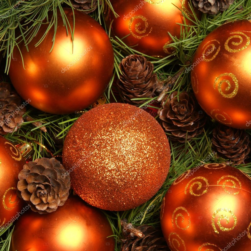 Christmas background with the balls and snowflakes  Stock Photo #16020273