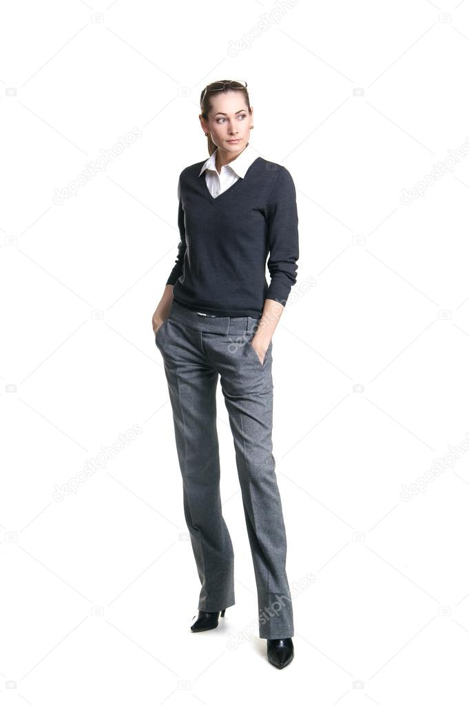 Young attractive business woman isolated over white background — Stock Photo #16021401