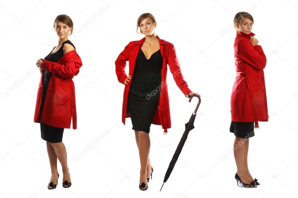Lady in red isolated on white                  Stockfoto #16021677