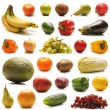Many different fruits and vegetables isolated on white — Stockfoto