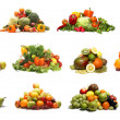 Many different fruits and vegetables isolated on white — Stock Photo