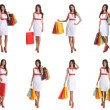 Some photos of young attractive woman with shopping bags — Stockfoto
