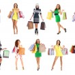 Young beautiful women with some shopping bags isolated on white — Stock Photo