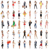 Many different girl isolated on white — Stock Photo