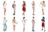 Set of sporty girls isolated on white — Stock Photo