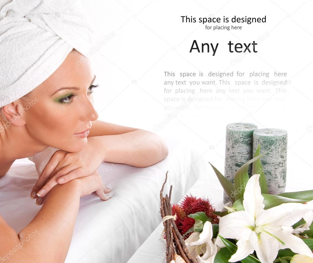 Attractive woman getting spa treatment isolated on white — Stock Photo #16034953