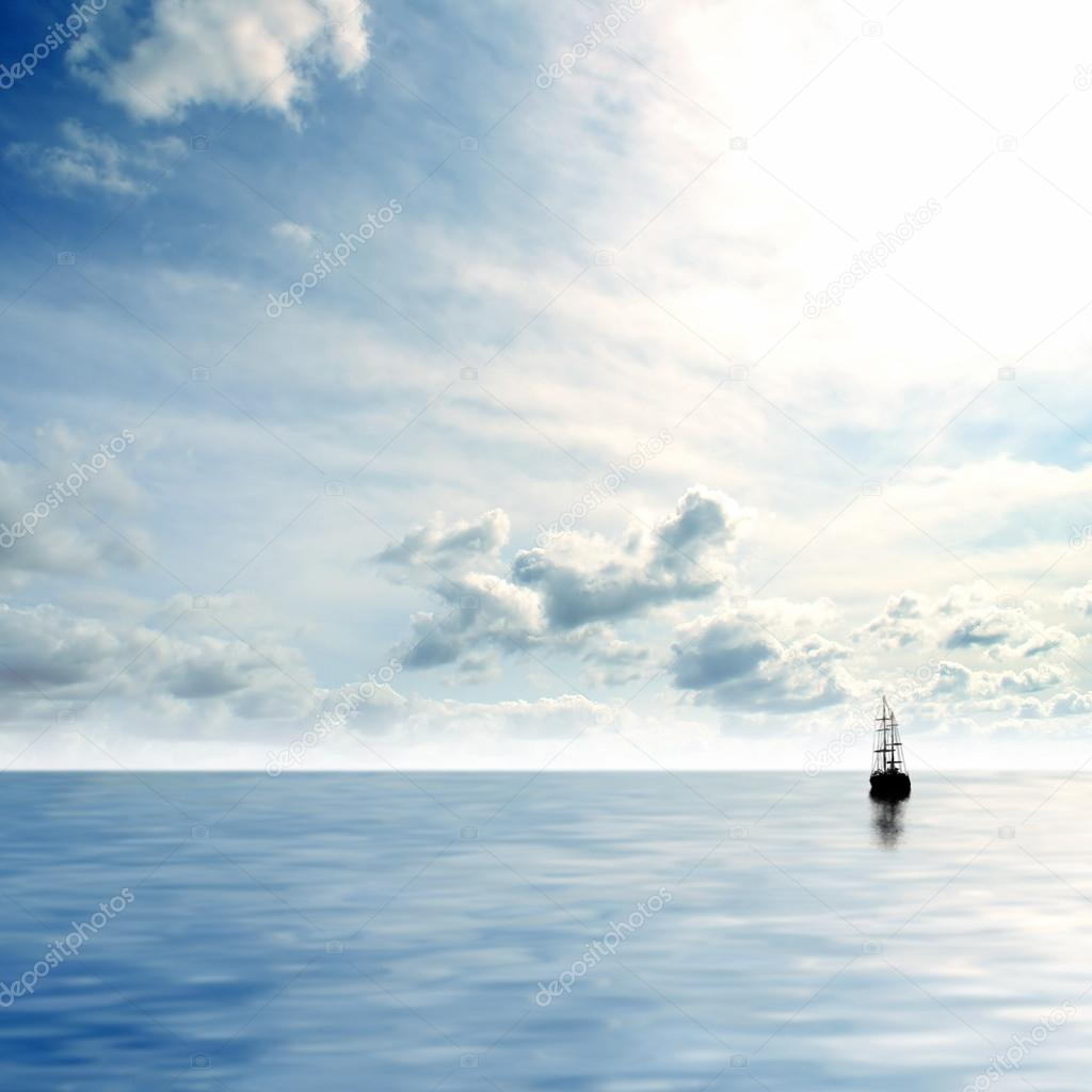 Picture of lonely sailing boat — Stock Photo #16036781