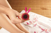 Very bstrange flower in a hand — Stock Photo