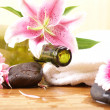 Bottle of massaging oil over spa background — Stock Photo