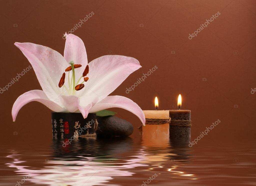 Japanese spa composition over dark background     — Stock Photo #16165601