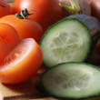 Fresh vegetables on wooden board - Stock Photo