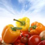 Fresh tasty vegetables isolated on white — Stock Photo
