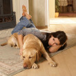 Stock Photo: Attractive womwith dog