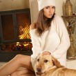 Attractive woman with the dog — Foto de Stock