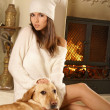 Attractive woman with the dog — Stock Photo #16173241