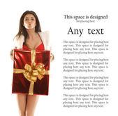 Young sexy woman with a big present — Stock Photo