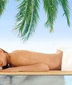 Attractive woman getting in spa — Stock Photo