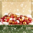 Stock Photo: Christmas background with the traditional decorations and snow