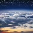 Collage: ocean, sunset, sky, clouds, stratosphere and space in one image — Stock Photo