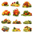 Set of different piles of fruits and vegetables  — Stockfoto