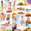 Spa, massaging, fitness and nutrition - collage — Foto Stock