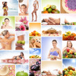 Spa, massaging, fitness and nutrition - collage — Zdjęcie stockowe