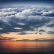 Collage: ocean, sunset, sky, clouds, stratosphere and space in o — Стоковое фото