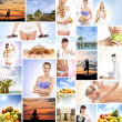 A collage of images with lovely women and health — Stock Photo