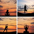 Silhouette of young woman doing yoga exercise over the sunset background - Stock Photo