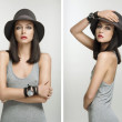 Collage made of some photos of young attractive woman — Stock Photo