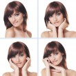Stock Photo: Many portraits of young and healthy brunette isolated on white