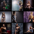 Stock Photo: Fashion collage made of many shoots of young attractive women in lingerie