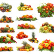 Set of different piles of fruits and vegetables - Stock Photo