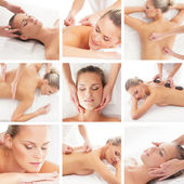 Spa collage: different tipes of massage — Zdjęcie stockowe