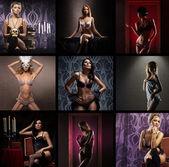 Colagem de moda feita de muitos brotos de jovens mulheres atraentes em lingerie — Foto Stock