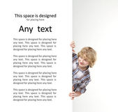 Boy with the blank banner. Perfect space to put any text. — Stock Photo