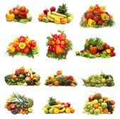 Set di diversi mucchi di frutta e verdura — Foto Stock