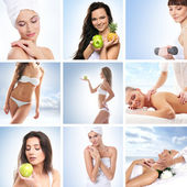 Sport, massaging, fitness and healthy eating collage — Stock Photo