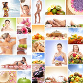 Spa, massage, fitness et nutrition - collage — Photo
