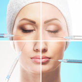 Collage made of some different images with the botox injections — Stock Photo