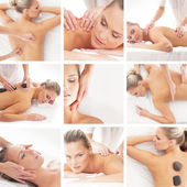 Spa collage: different tipes of massage isolated on white background — Stock Photo